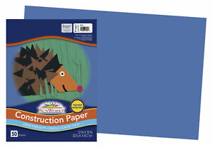 SunWorks Heavyweight Construction Paper, 12 x 18 Inches, Blue, Pack of 50