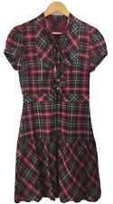 MNG Mango Checked Red Tartan Plaid Cotton Dress Size Medium Frill Short Sleeves