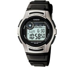 Casio W-213-1AV Silver Black Digital Sports Watch with Casio Box