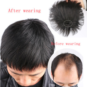 100% Real Human Hair Toupee Reissue Piece for Men | Clip Hairpiece Wig Topper