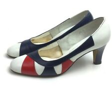 Size 5.5 Red White Blue Pumps Heels Shoes Fourth of July Patriotic 1960s 60s 5