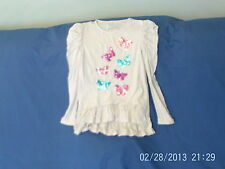 Girls 8 Years - White Long-Sleeved Stretch Tunic Top, Sparkly Butterflies - TU