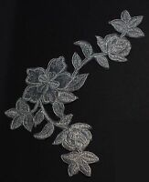 Extra large flower patches applique patch motif iron/ sew on trim Silver #3