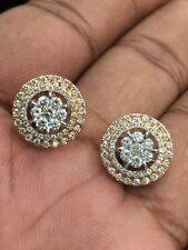 Pave 1.19 Cts Natural Diamonds Halo Stud Earrings In Solid Hallmark 14Carat Gold