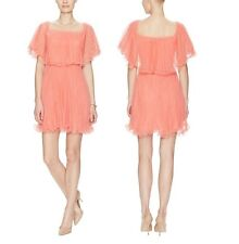 NWT BCBGMAXAZRIA BCBG SHALOM TULLE PLEATED COCKTAIL DRESS coral pink size 2 xs