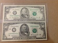 $50 US.1990 (1) Error Note. B-2 FED., NYC. Note has USA from REV. bled to OBV.