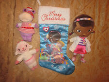 Disney CHRISTMAS STOCKING Doc McStuffins Lambie DOC HALLIE NURSE HIPPO PLUSH LOT