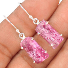 Pink Tourmaline Rough 925 Sterling Silver Earrings Jewelry EE30293