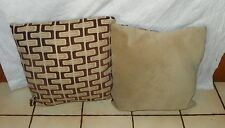 Pair of Brown Beige Abstract Print Pillows  20 x 20