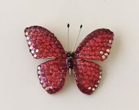 Vintage Style Red Butterfly Brooch Pin