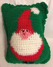 "Hand Made  'SANTA'  8 X 10"" Crocheted Pillow"