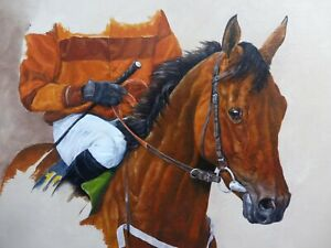 OIL STUDY OF A RACE HORSE LISTED ARTIST WENDY CARTWRIGHT  FREE SHIPPING ENGLAND