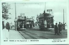 Pamlin repro photo postcard M3119 Trams at The Aquarium Brighton Sussex