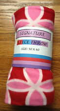 """Signature 50"""" x 60"""" Red, White, & Pink FLEECE THROW Floral Pattern Brand New"""