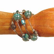 Aqua Blue Glass Pearl Shell Faux Silver Charm Bauble Wrap Coil Bracelet