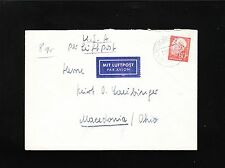 Germany 80p Heuss 1960 Speele Air Cover to USA 4t
