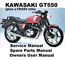GT550 GT 550 Owners Workshop Service Repair Parts Manual PDF CD-R Z550 KZ LTD550