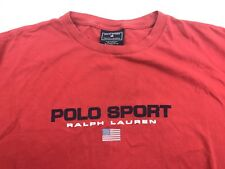Vintage Polo Sport Ralph Lauren T Shirt Spell Out Logo Flag USA XL Red 90s