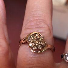 9CT Gold 375  Diamond Ring,   Size P,  0.50CT Champaign Diamonds