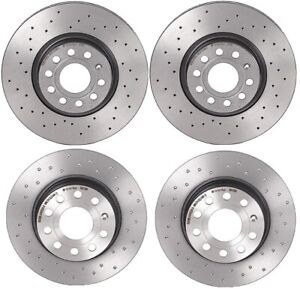 Brembo Xtra Front & Rear Brake Disc Rotors Drilled Kit For Volkswagen Beetle GTI