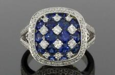 Prong Set With Blue Sapphires & Sparkly White CZ 3.75ct Two Tone 925 Silver Ring