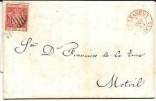 España. Carta con sello de 6 cuartos de 1854 Isabel II