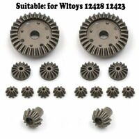 16PCS Para WLtoys 12428 12423 RC Coche Zinc Alloy Gear Metal Rear Drive Shaft