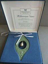 """Wedgwood Millennium Gems 1998 Sage Green w/Pearl """"Wisdom"""" Ornament w/Box"""