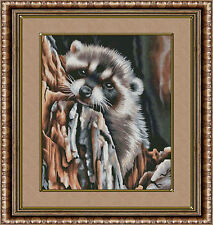 PRECIOUS RACCOON IN A TREE~COUNTED CROSS STITCH PATTERN