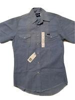 NWT Wrangler Light Blue Cotton Blend Button Down Short Sleeve Cowbot Shirt Sz M