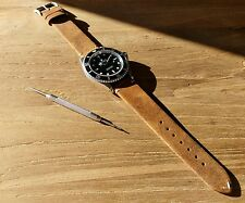 20mm Vintage Leather Watch Strap -  'Rust Brown'
