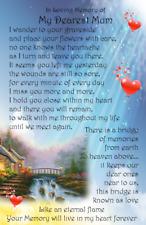 bridge of love Mum Dad Gran Papa Nanna  Bereavement Graveside Memorial Card G08