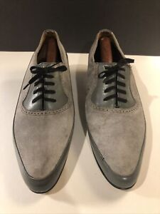 Vintage 50's Two Tone Gray Leather & Suede Rockabilly Shoes 9D