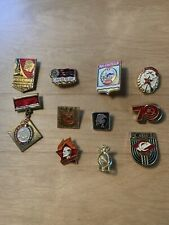 Vintage Enamel 11 Pins Badges SOVIET LENIN COMMUNIST Russia PROPAGANDA Icon USSR