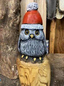 SANTA HAT OWL Chainsaw Carving ASH WOOD Bird Sculpture Whimsical Owl Folk Art