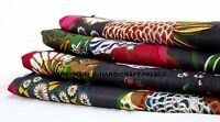 Black Floral Cotton Voile Hand Block Print Fabric Natural Dyes Sanganer Indian