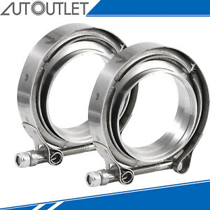 """2x 3"""" V-Band Clamp&Flange for Turbo Exhaust Downpipes Stainless Steel & Iron"""