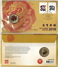 CHRISTMAS ISLAND HAPPY CHINESE NEW YEAR 2018 PNC $1 COIN TUVALU - MINT & PERFECT