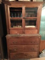Antique pine hutch wood cabinet vintage