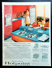 Vtg 1956 Hotpoint oven refrigerator retro kitchen advertisement print ad art