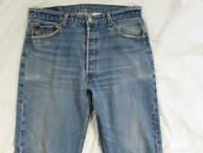 Levi 501 Button Fly Straight Leg Faded Denim Jeans Tag 36x38 Measure 34x33
