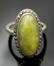 IRELAND DUBLIN SD ANTIQUE CONNEMARA MARBLE MARCASITES STERLING SILVER RING 5.25
