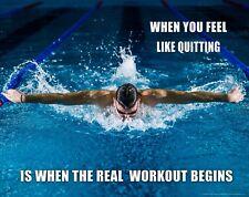 Swimming Workout Motivational Poster Art Print Swimwear Swim Youth Men's  MVP629