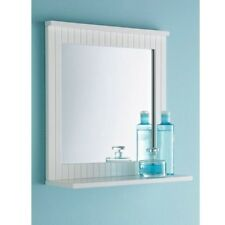 New White Bathroom Maine Wood Frame Mirror Wall Mounted with Cosmetics Shelf UK