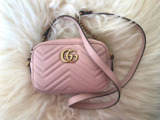 Gucci Marmont Mini Light Pink Chain Quilted Crossbody Shoulder Bag