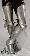 Advanced Medieval leg armor, complete gothic fluted cuisses, knees and greaves.