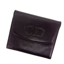 Dior Wallet Purse Coin purse Logo Black Woman Authentic Used Y350