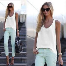 Women Loose Sleeveless Tank Tops Vest Chiffon T Shirts Casual Blouse Plus Size