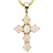 Unbehandelte Echtschmuck-Halsketten & -Anhänger aus Gelbgold Opal