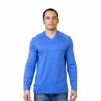 Steven Craig Men's Long Sleeve V Neck T-Shirt Blue Medium